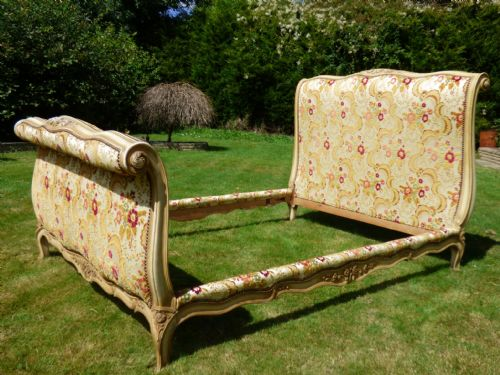 SOLD - LOVELY VINTAGE UPHOLSTERED DOUBLE FRENCH BED - Superb Quality - ha28